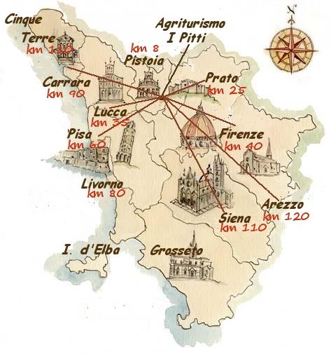 Mappa toscana con indicazione città e km da agriturismo